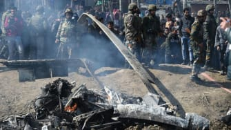 A crashed helicopter in Indian-administered Kashmir