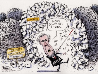 Political Cartoon U.S. Mitch McConnell mountains of evidence