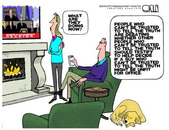 Political Cartoon U.S. Trump Senate impeachment televised trial American viewers