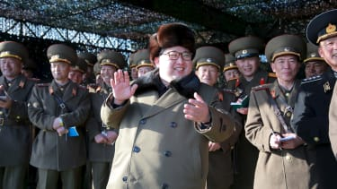 Kim Jong Un looking pleased.