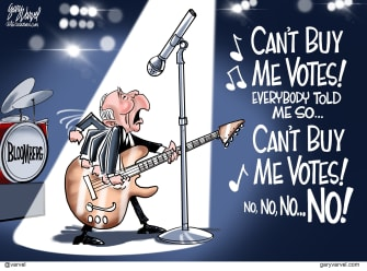 Political Cartoon U.S. Bloomberg Beatles buying votes drop out