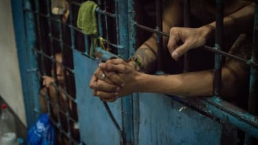 An overcrowded jail cell in Manila.
