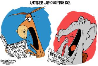 Political Cartoon U.S. Trump Democrats Republicans impeachment trial partisanship news