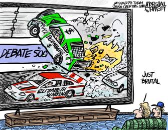 Political Cartoon U.S. Elizabeth Warren Michael Bloomberg Nevada NBC debate 2020 primaries caucuses racing