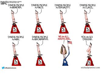 Political Cartoon U.S. left right division
