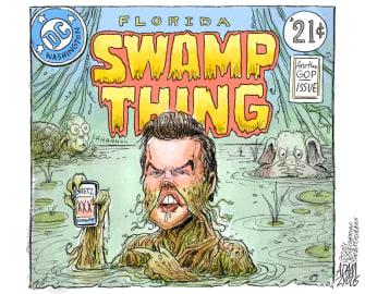 Political Cartoon U.S. matt gaetz swamp thing