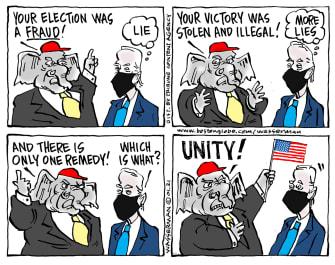 Political Cartoon U.S. democrats gop unity biden
