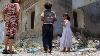 Displaced Yemeni children.