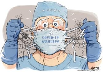 Political Cartoon U.S. coronavirus stimulus senate deteriorates