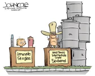 Editorial Cartoon U.S. Texas crude oil lemonade stand cheap