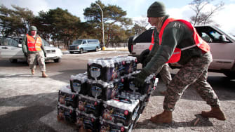 Water being delivered in Flint, Michigan.