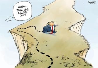 Political Cartoon U.S. Trump Blindfolded Iran War Cliff
