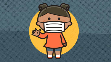 A child wearing a facemask.