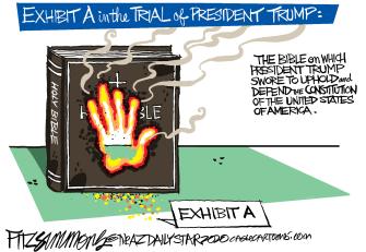 Political Cartoon U.S. Trump inauguration bible oath