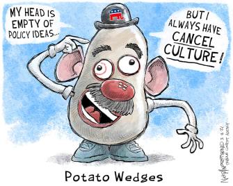Political Cartoon U.S. mr potato head gop cancel culture