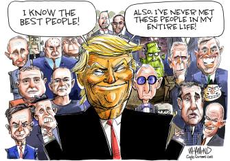 Political Cartoon U.S. Trump Rudy Giuliani Vladimir Putin Roger Stone Lev Parnas best people spin distancing