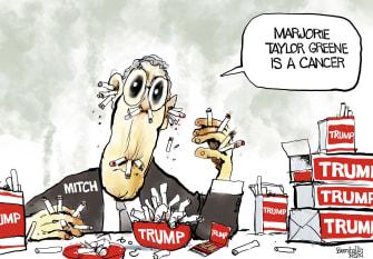 Political Cartoon U.S. mcconnell trump greene