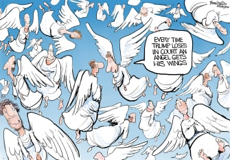 Political Cartoon U.S. Trump election court losses