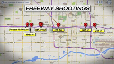 A map showing the recent shootings in Phoenix.