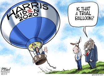 Political Cartoon U.S. Harris Biden 2020 Democrats