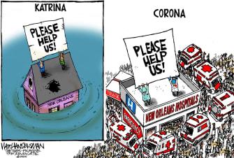 Editorial Cartoon U.S. New Orleans Coronavirus Hurricane Katrina aid hospitals flooding