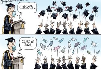 Editorial Cartoon U.S. 2021 graduates covid