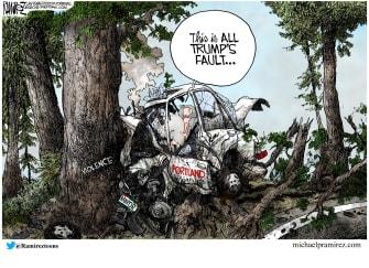 Political Cartoon U.S. Portland Mayor Wheeler Trump unrest