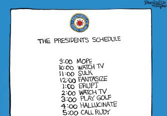 Political Cartoon U.S. Trump schedule