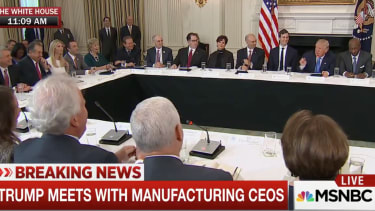 President Trump asks GE CEO to tell story of his hole-in-one.