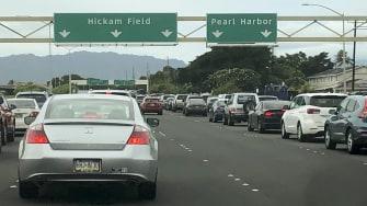 Traffic backs up at the Pearl Harbor Naval Shipyard.