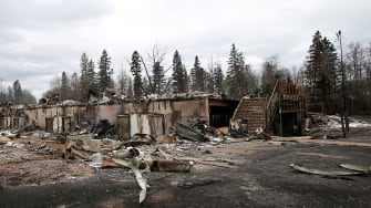 Burned out homes are pictured in the Abasand neighbourhood of Fort McMurray, Alberta, Canada