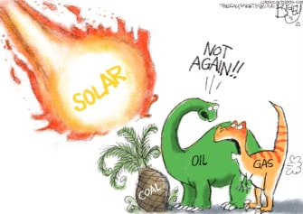 Editorial Cartoon U.S. solar power fossil fuels