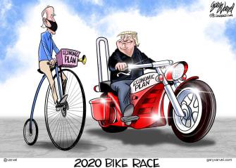 Political Cartoon U.S. President Trump Joe Biden Economic Plan Motorcycles