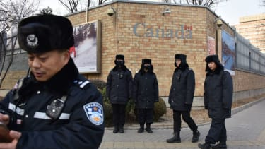 Chinese police guard Canadian embassy