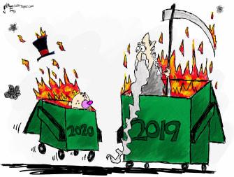 Editorial Cartoon World New Years problems dumpster fire
