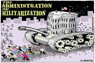 Political Cartoon U.S. Trump Portland militarization