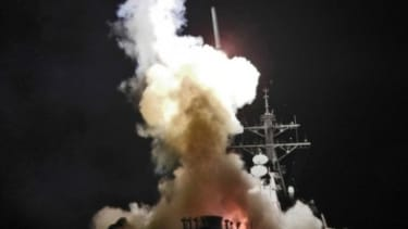 USS Barry launches a Tomahawk missile Saturday in support of Operation Odyssey Dawn.