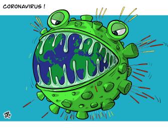 Editorial Cartoon World Coronavirus global epidemic