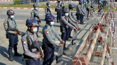 Military guard Parliament in Myanmar