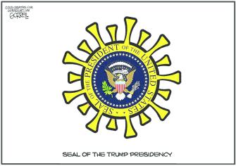 Editorial Cartoon U.S. Trump presidential seal coronavirus
