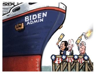 Political Cartoon U.S. Biden Harris McConnell