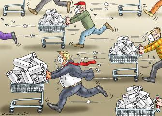 Political Cartoon U.S. American panic paper towels toilet paper coronavirus Trump