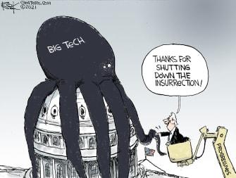 Political Cartoon U.S. Biden big tech Capitol riot