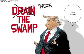 Political Cartoon U.S. pardon the swamp Trump slogan