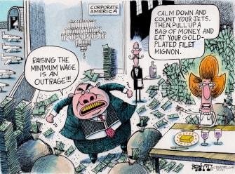 Editorial Cartoon U.S. 15 dollar minimum wage wealthy