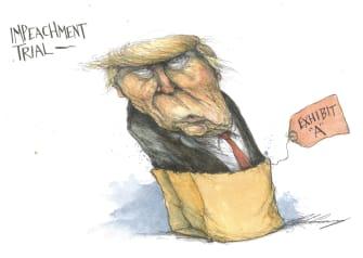 Political Cartoon U.S. Trump impeachment exhibit a