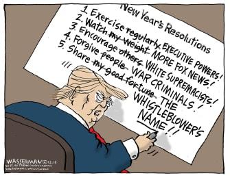 Political Cartoon U.S. Trump new Years Resolutions