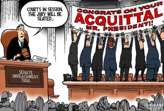 Political Cartoon U.S. Trump Senate Trial Acquittal