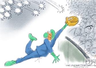 Editorial Cartoon U.S. MVP doctors coronavirus baseball