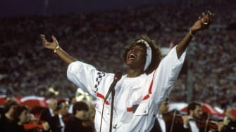 Whitney Houston sings the National Anthem at Super Bowl XXV in 1991.